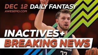 NBA DFS Picks - Thu 12/12 - Deeper Dive & Live Before Lock