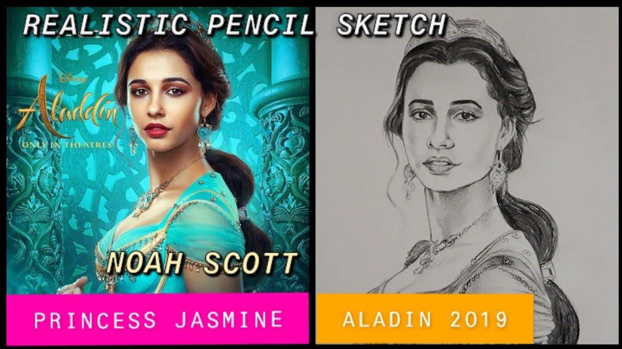 Disney Aladin 2019 Princess Jasmine Naomi Scott Pencil Sketch