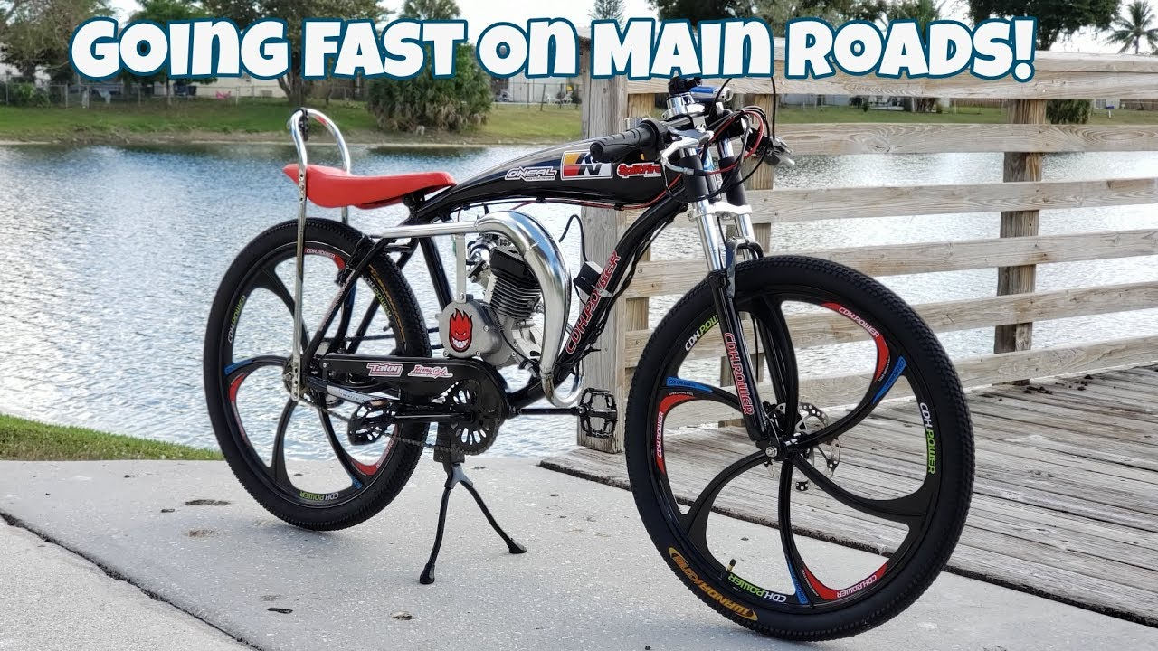 80CC Motorized Bicycle - Riding On Main Roads Fast!