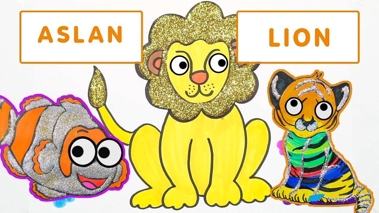 Aslan Kaplan Balik Ciz Ve Boya Renkleri Ve Hayvanlari