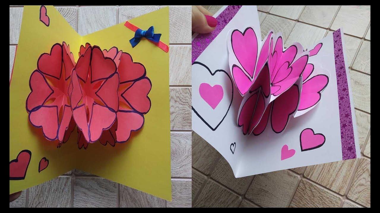 Объемные цветы внутри открытки для папы