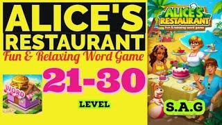 Alice Restaurant Word Game level 21 22 23 24 25 26 27 28 29 30 answer gamelay Full Story Design day screenshot 1