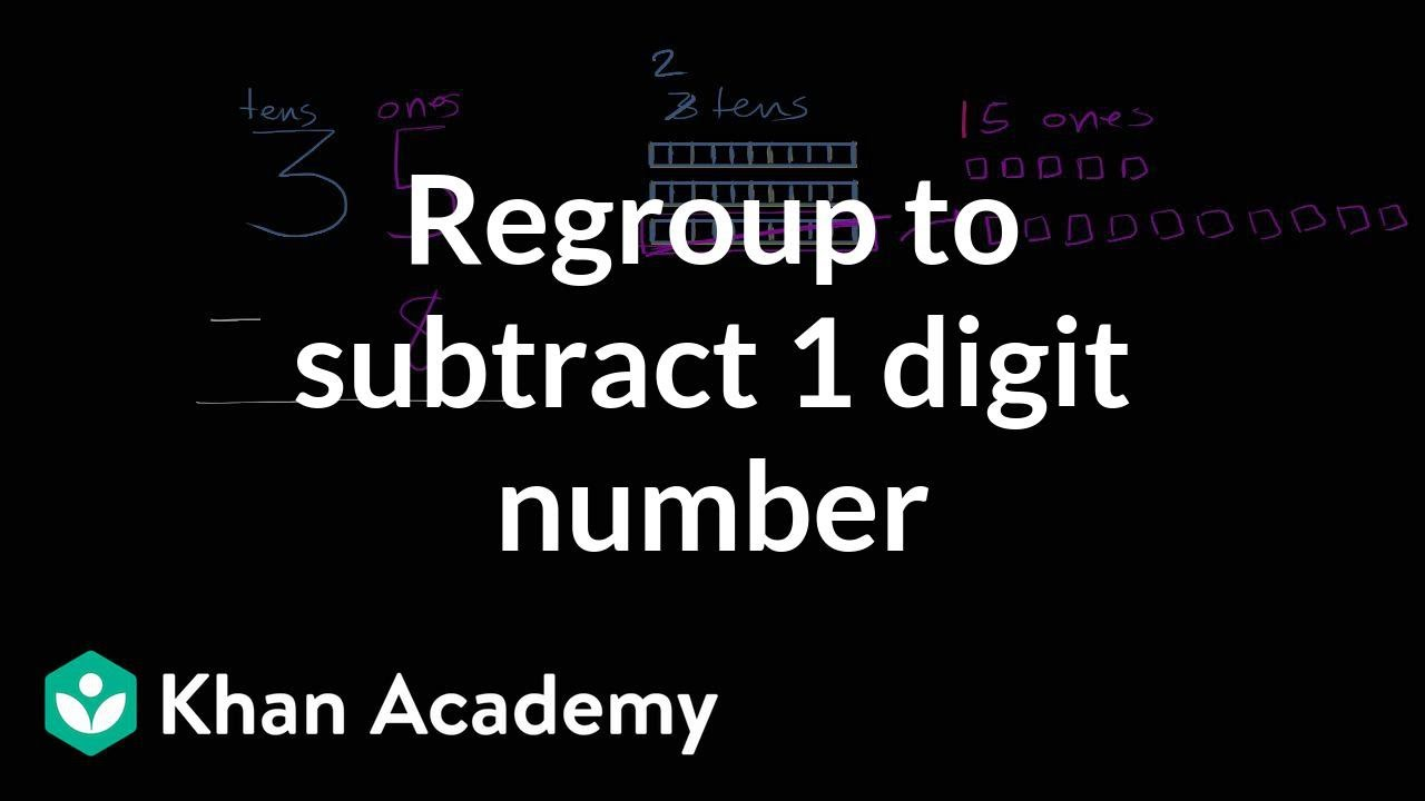 medium resolution of Subtracting a 1-digit number with regrouping (video)   Khan Academy