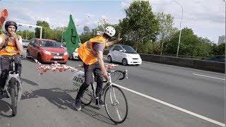 Climat : des militants en vélos bloquent le périphérique (28 juillet 2019, Paris)