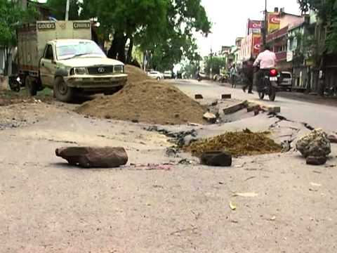 Poor Road Condition of Bilaspur Chhattisgarh in Rainy Season