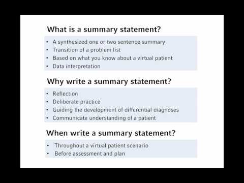 how to write a summary statement