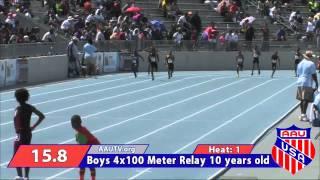 2014 AAU Junior Olympics Boys 4x100 relay Motor City Track Club 10U
