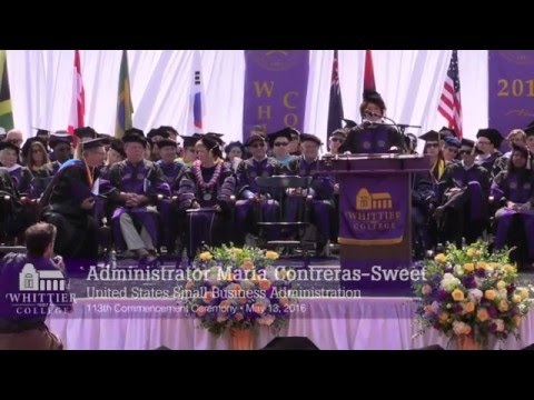SBA Administrator Maria Contreras-Sweet Delivers Commencement Speech at Whittier College