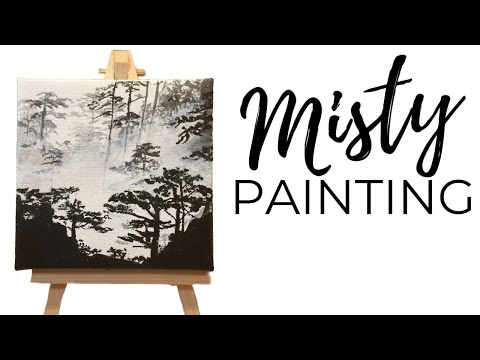 Painting Tutorial / Forest Painting/ Acrylic on Mini Canvas (2017)