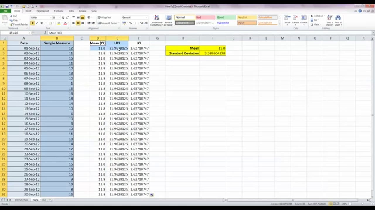 How To Draw A Basic Control Chart In Excel 2010 Youtube