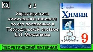 """9 класс § 2 """"Характеристика элемента по его положению в ПСХЭ """"."""
