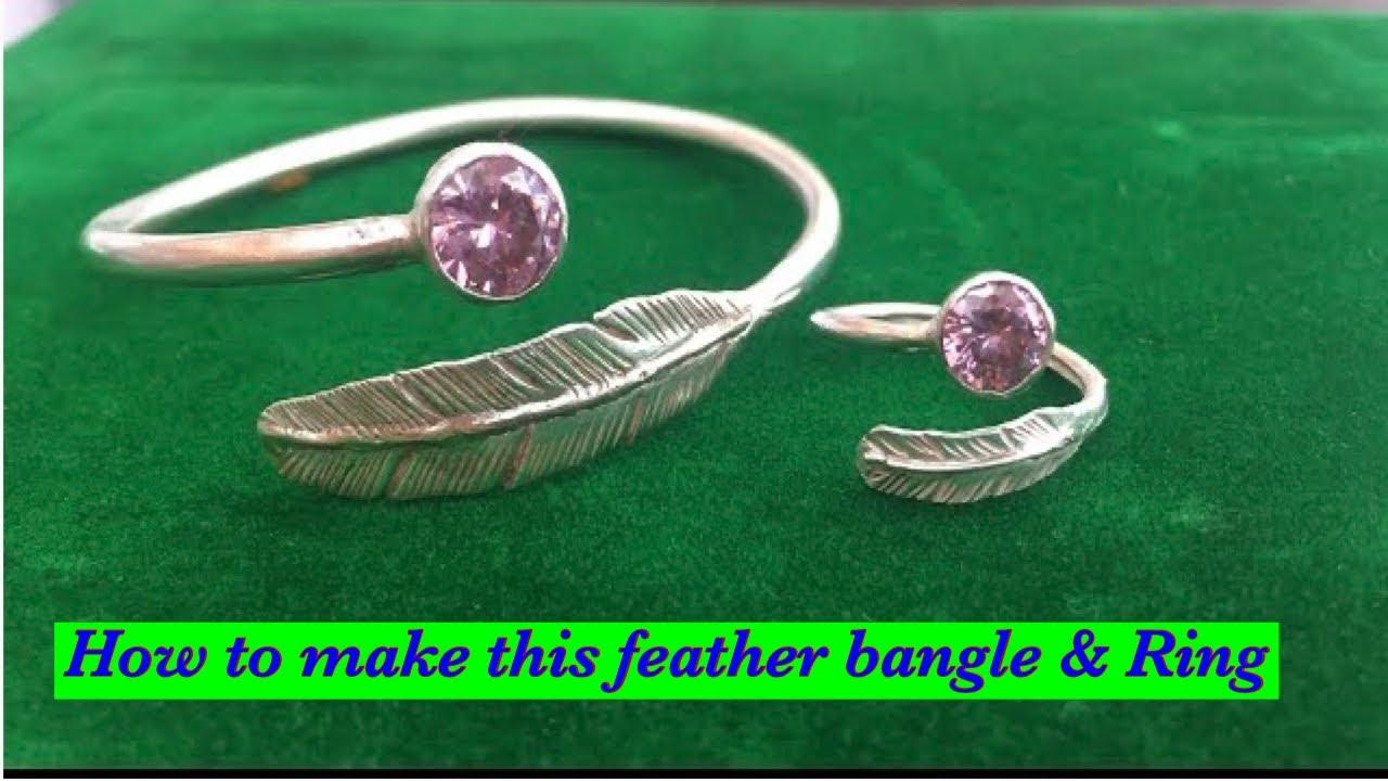 Feather bangle and ring set making | silver bangle
