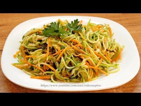 Рецепт Кабачки по-корейски / How to make Korean style zucchini salad  English subtitles без регистрации