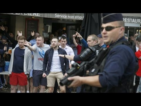 Trouble flares in Lille as Russia, England and Wales fans arrive