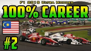 100% Malaysian GP Race - F1 2015 Ultra-Mod Career (2014 Game) Part 2