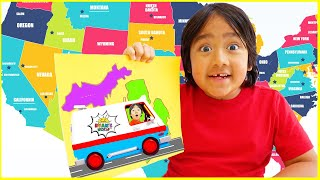Learn about USA states map and Capitals for Kids with Ryan!!!