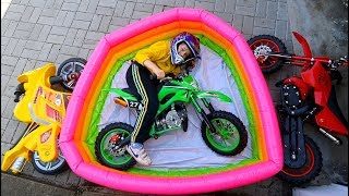 Funny Video Children Baby Ride on New Dirt Cross Bike Power Pocket Bike Magic Hide and Seek in Pool