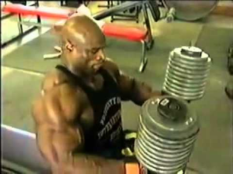 Ronnie Coleman 90kg 200lb Dumbell Press For Reps Youtube