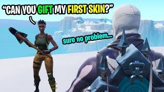 "I asked strangers to GIFT me my ""first"" ever Fortnite skin... (emotional)"