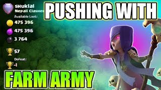 Trophy pushing with farm army II Th10 get 2 star on max Th11 with farm army in Clash of clans 2018