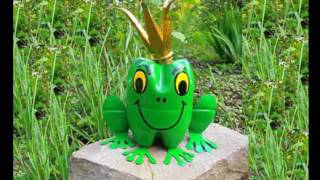 Лягушка из пластиковых бутылок для сада, дачи и огорода