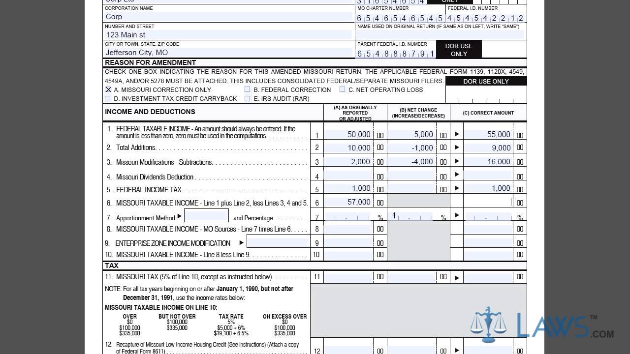 corporate income tax return form
