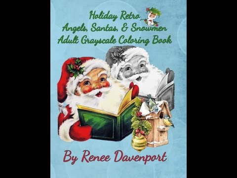 holiday retro angels santas snowmen grayscale coloring book retro fun volume 2