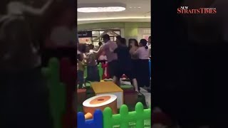 Violent row between kids joined by parents in Chinese playground; video goes viral