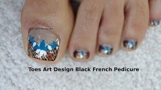 Toes Art Design Tutorial Beginners French Pedicure  Black Bronze and Gold