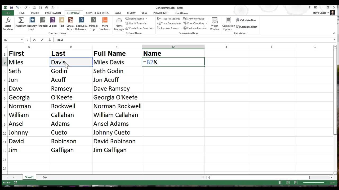 First And Last Name: Excel Concatenation With First And Last Names