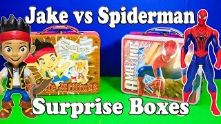 JAKE AND THE NEVER LAND PIRATES Disney Jake vs Spiderman Surprise Boxes a Surprise Egg Video