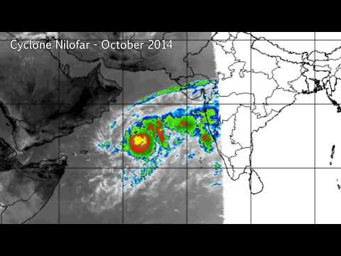 Infrared satellite imagery of Cyclone Nilofar (October 2014)