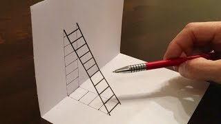 How to Draw Ladder Optical Illusion - DIY 3D Ladder