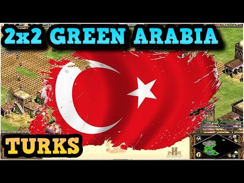 Age of Empires 2 HD 2x2 Green Arabia Turks AoE2HD Gameplay P