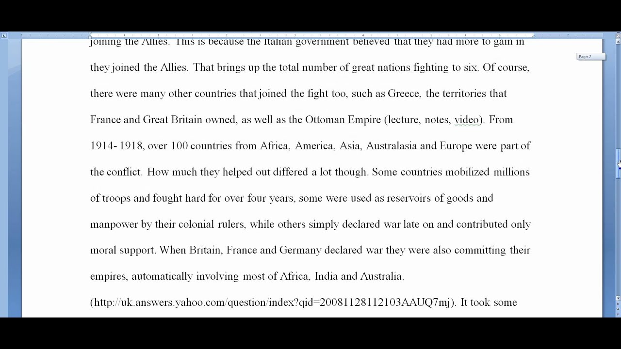 World War One Document Based Question Essay 11-14-09 - YouTube