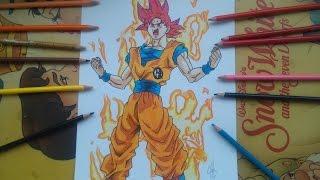 Dibujando a Goku ssj Dios Rojo. How To Draw  Goku ssj God Red