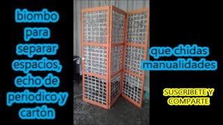 biombo de periodico y cartón  -- Newspaper and cardboard screen