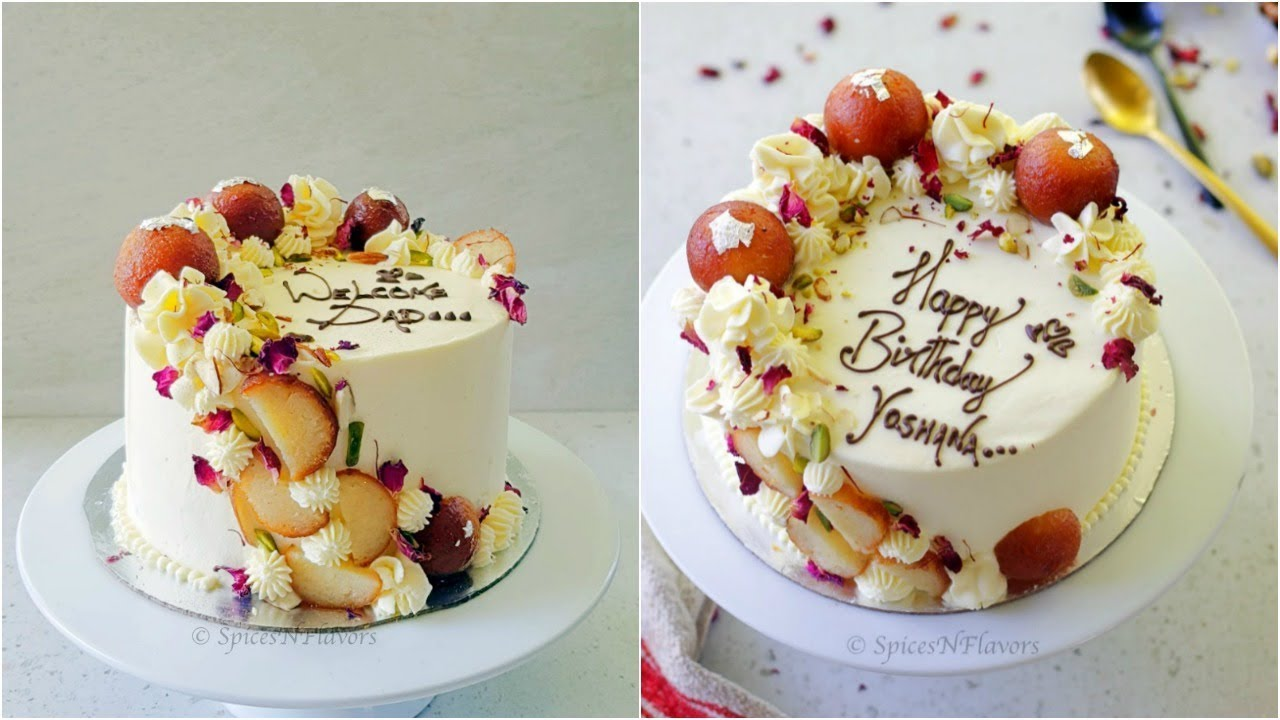 Download Eggless Gulab Jamun Cake recipe | Indian Fusion Cake