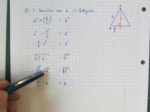 seite s aus der h he im gleichseitigen dreieck berechnen. Black Bedroom Furniture Sets. Home Design Ideas