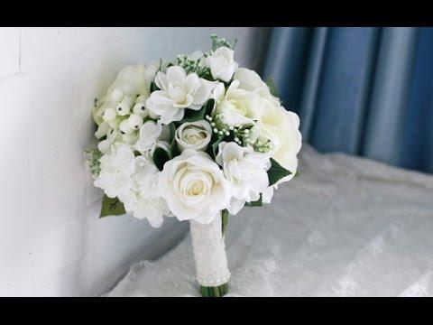 Gardenia And Rose Wedding Bouquet
