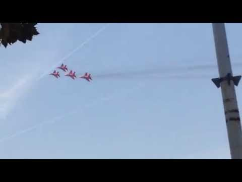 Mig29 squadron low fly-by with counter measures
