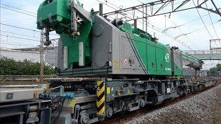 鉄道クレーン車+ワゴン車 試験輸送(甲種輸送)
