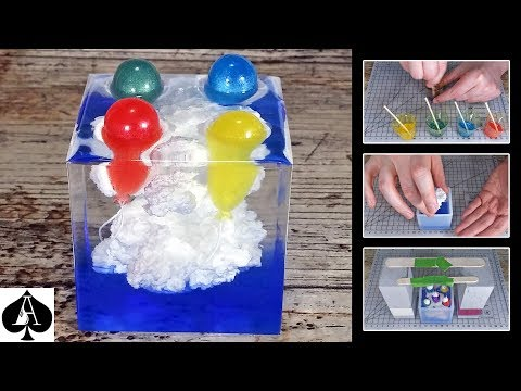 Balloons in the Clouds Epoxy Resin Cube Paperweight | Ivory Soap Microwave Technique | DIY