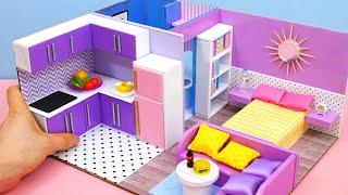 DIY Miniature Cardboard House #24   bathroom, kitchen, bedroom, living room for a family