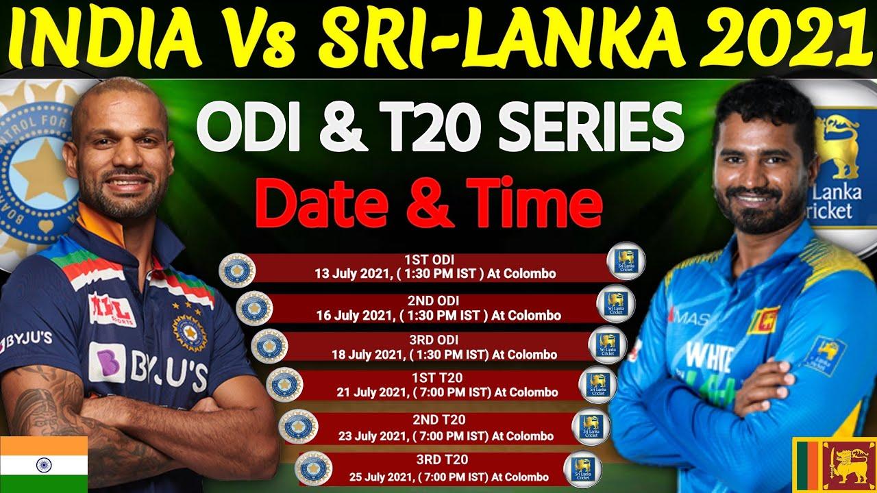 India Vs Srilanka Odi T20 Series 2021 Final Schedule India Tour Of Srilanka 2021 Ind Vs Sl Youtube