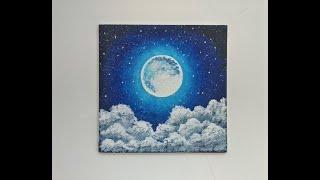 sky night moon painting beginners acrylic stars