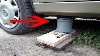 How to make a powerful air jack out of sewage muff