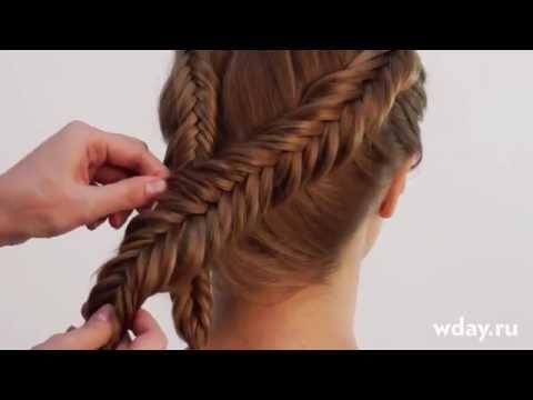 Коса рыбий хвост обратное плетение (коса колосок наоборот)