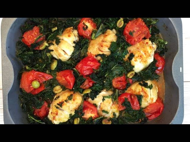 Baked Chicken with Kale & Tomatoes