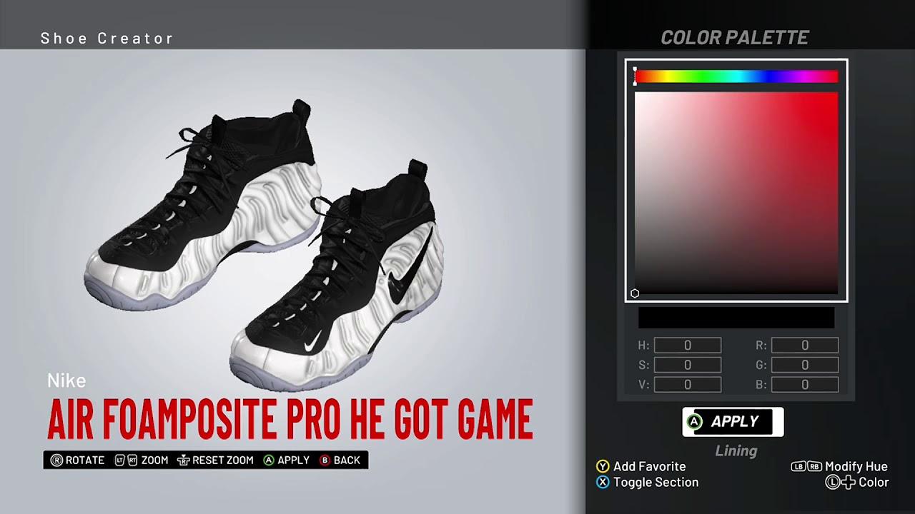 brand new ea4c0 91ce2 NBA 2K19 Shoe Creator - Nike Foamposite Pro